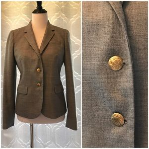 J Crew Schoolboy Blazer Jacket Grey Gold Buttons